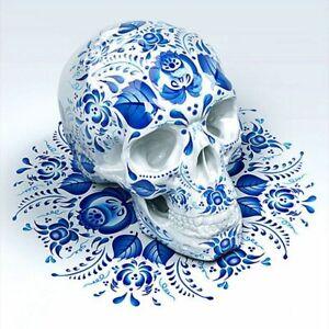 Blue Flowery Skull Diamonds Painting Full Drill Cross Stitch Embroidery Skeleton