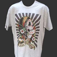 MEXICAN SKULL DAY OF DEAD TATTOO rockabilly rock T-SHIRT GREY S M L XL 2XL 3XL