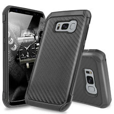 For Samsung Galaxy S8 Hybrid Black Carbon Fiber Slim TPU Armor Hard Case Cover