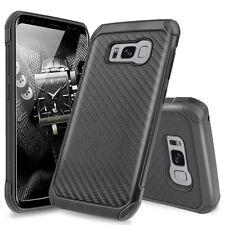 For Samsung Galaxy S8 Hybrid Black Carbon Fiber Slim TPU Armor Hard Case Cover