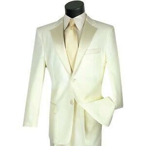 LUCCI Men's Classic Fit Formal Tuxedo Suit w/ Sateen Lapel & Trim NEW