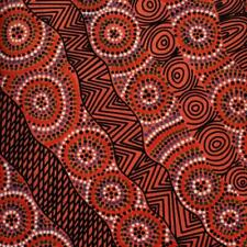 Cotton Fabric SALT LAKE RED - Australian Aboriginal Art Fabric *TAF