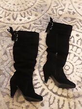 Naughty Monkey Size 8 Black Suede Slouch Knee High Boots Heels