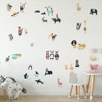 Aufkleber lustige Tierwelt Cartoon DIY Wandtattoo Sticker Löwe Lama Affe Eisbär