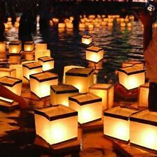 10pcs Outdoor Square Water Floating Candle Paper Lanterns Biodegradable White