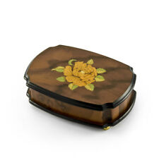 Handcrafted 18 Note Single Rose Sorrento Musical Jewelry Box - Over 400 Song Cho
