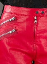 **3.1 PHILLIP LIM** Red Lamb Skin Leather Zip Shorts