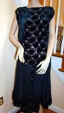 Vintage 1930's DECO Sapphire Blue Burnout Velvet Dress 6-8