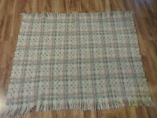 PENDLETON WOOL THROW STADIUM BLANKET BEIGE BLUE PINK TAUPE 45 X 52 EUC VINTAGE