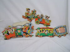 "Walt Disney Wall Hanging Train in 3 Pieces Vintage Each 15"" Length"