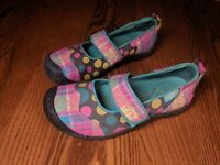 RARE KEEN Harvest Mary Jane's Polka Dots Cotton Canvas Stripes Size 7 1007741