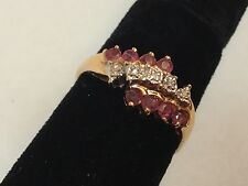 Vintage 14k Yellow Gold Ruby Diamond Accents Cocktail Ring Size 8.5 - Gorgeous