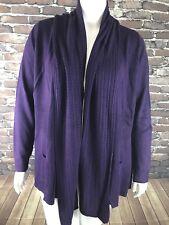 New Karen Scott Solid Purple Shawl Collar Long Sleeve Open Cardigan Sz 1X NWT