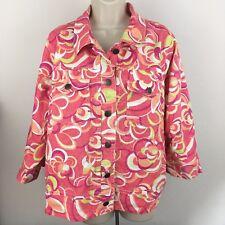 Ruby Rd Woman Blazer Jacket Floral Button Up 3/4 Sleeve Cotton Denim Stretch 18W