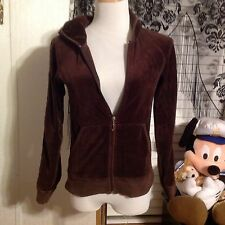 JUICY COUTURE VELOUR ZIP UP HOODIE SIZE LARGE  BROWN