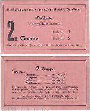 Tischkarte Hamburg Südamerikanische Dampfschifffahrts Gesellschaft    ( 102880