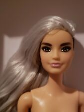 NUDE FASHIONISTA  #107 TALL BARBIE DOLL GREY TINTED HAIR 1 SIDE SHAVED