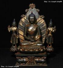 Old Tibetan Buddhism Bronze Gilt Sakyamuni Shakyamuni GuanYin Tara Buddha Statue