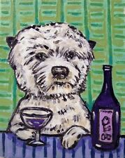Wine art with west highland white terrier dog 4x6 modern folk Glossy Print