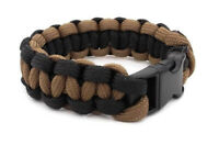"Paracord Bracelet 550 Two-Tone Black/Coyote Tan Survival Tactical 3/8"" Buckle"
