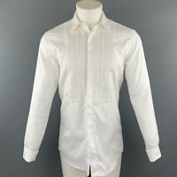 BURBERRY Size S White Pleated Cotton French Cuff Long Sleeve Shirt