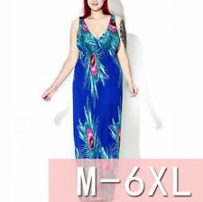 Women Tie Dye Peacock Feather Summer Holiday Maxi Evening Beach Dress Plus Size