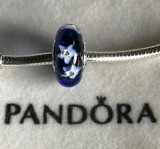 Pandora starry night sky blue Murano glass charm bead 925 Sterling silver ale