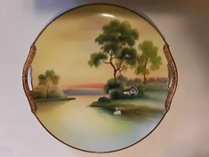 Nippon Plate / Cake Tray With Handles. Lake, Country House, Swan Theme. Vintage