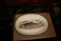 Antique Fish Serving Platter Tray Oval Shape Scary Painted Fish Gold Trim