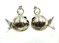 Handmade Vintage Big Puffy Fish Sterling Silver 925 Dangle Earrings