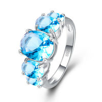 Fashion Women Oval Cut Blue Topaz Gemstone Silver Ring Size 6 7 8 9 10 11 12