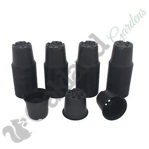 """100 x 10.5cm Plant Pots Black Plastic Tall Deep Full Size Flower Pot ( 4"""" )"""