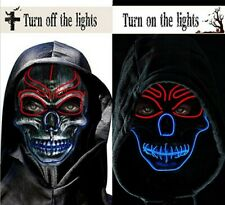 LED Light Up Skull Skeleton Mask Costume EDC Halloween Party Glow Red and Blue
