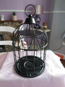 PARTYLITE BLACK METAL BIRDCAGE DESIGN CANDLE HOLDER