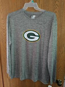 Green Bay Packers NFL Mens Gray Long Sleeve Shirt Size LARGE NWOT FREE SHIP