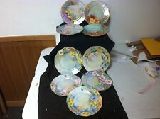 Antique Bavaria/Limoges 9 Hand Painted Porcelain Plates Stunning Florals