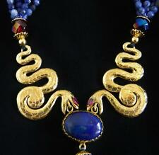 Vintage Fabulous Sodalite Golden Twin Snake Necklace