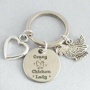 """Crazy Chicken Lady"" Keepsake - Poultry Hen - 20mm Pendant - Bag Charm - Keyring"