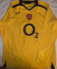 Arsenal RARE Long Sleeve Shirt - Medium - 2005/2006 - Yellow Away Jersey O2