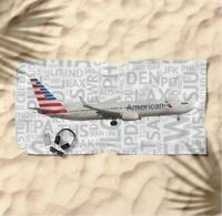 American Airlines Boeing 737 with Airport Codes -  Beach Towel