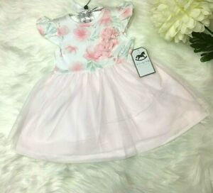 Spanish Style Romany Baby Girl Dress Pink Lace Floral 0-3 m 3-6 m 6-12 months