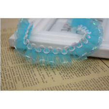 Plain Pleated Gathered Sequin lace edge Trim Ribbon Chiffon blend fabric