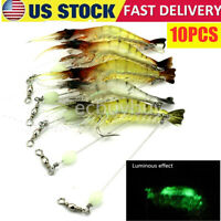 10 Pcs Lures Bait Shrimp Fishing Simulation Luminous Prawn Saltwater Hooks USPS