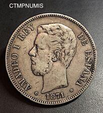 ESPAGNE 5 PESETAS ARGENT AMADEO I° 1871 (74)