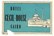 HOTEL CECIL HOUSE 1900s Cairo EGYPT Luggage Label Art Deco Mosque Antique Vtg