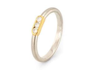 Schöne Damen-ring mit Brillanten aus Platin  und Gold, Gr.54   (21496)
