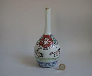 Antique Ko Imari Crane necked Sake Bottle Edo c.1800
