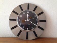 Horloge pendule ronde inox chrome alu  VINTAGE     années  50's 60's 70