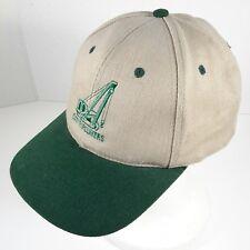 CAT Pipelayers Caterpillar Crane Snapback Hat Cap Beige Tan Green Embroidered