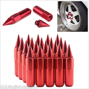 -XN20Pcs 60mm Red Spiked Aluminum Extended Tuner M12X1.5 Wheels/Rims Lugs Nuts